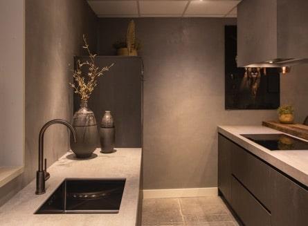 Moderne industriele zwarte keuken 01