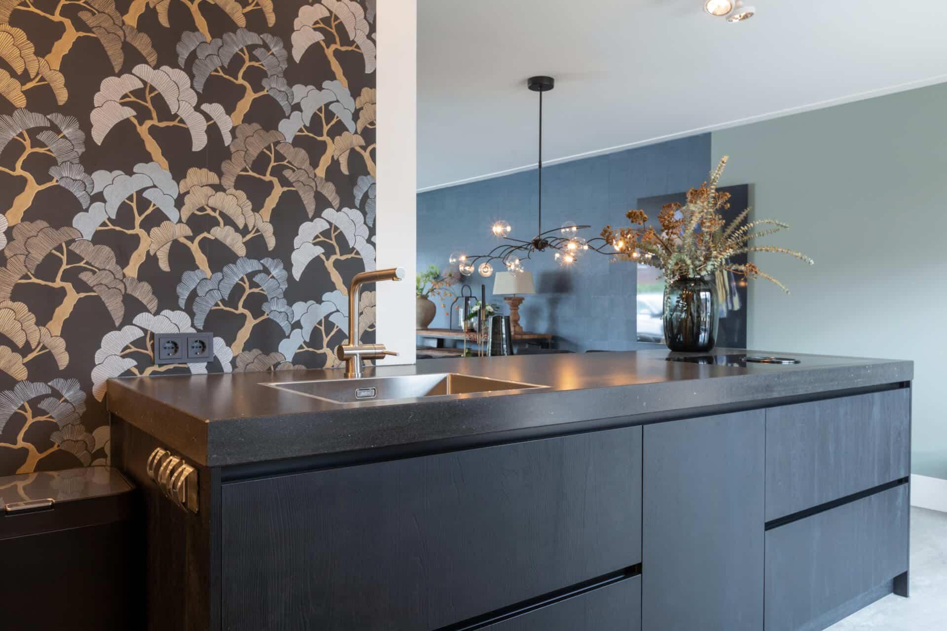 Moderne kunststof keuken houtstructuur
